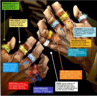 The ten rings of Mandarin, the source of his power in Iron Man comics. Also worth noting, Kingsley's character also wore these in his pirate transmissions.